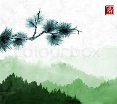 pine tree branch an green mountains with forest trees in fog on rice paper background hieroglyph clarity traditional oriental ink painting sumi e