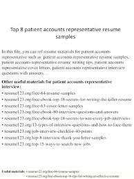 Cover Letter For Patient Account Representative Sample Sample Cover