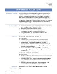 Resume Human Resource Samples Resources Manager Management