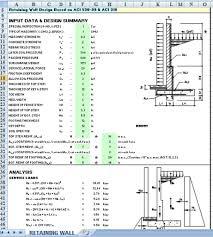 Pile Design Spreadsheet Civil Engineering Retaining Wall Design Spreadsheet