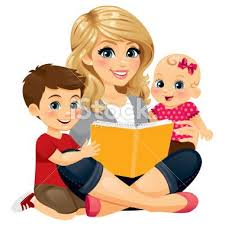 A Mom Babysitter Nanny Reading With Two Children Family