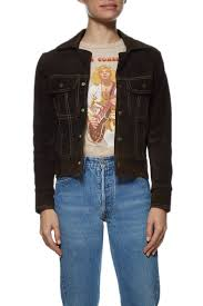 wgaca vintage brown suede denim style jacket what goes around comes around