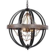 wood lighting. Polaris Industrial 3-Light Chandelier, Weathered Oak Wood Lighting