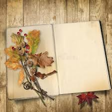 autumn background old book on a wooden background with leaves stock image image