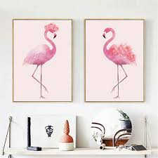 wall art canvas poster print flamingo