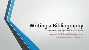 Writing A Bibliography Using Modern Language Association Mla And
