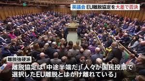 Image result for 英議会、EU離脱案を大差で否決 野党が内閣不信任案