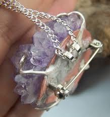 custom made amethyst stalactite tip amethyst crystal cer druzy brooch pin and pendant combination