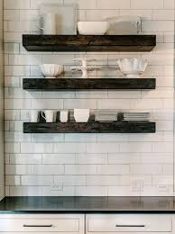 Chunky White Floating Shelves Kitchen with chunky wood floating shelves filled with white 18