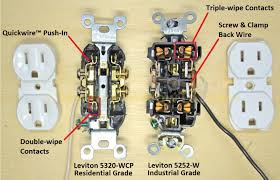 electrical outlets side wire versus back wire back wiring outlets leviton quickwireacirc132cent versus screw clamp