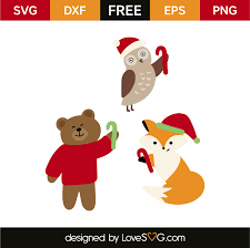 They would look super cute on signs, ornaments or shirts. Christmas Animals Lovesvg Com
