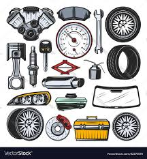 Engine Parts Design Car Auto Parts Engine Tires And Tools