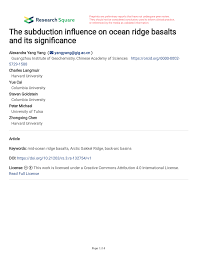 the subduction influence on ocean ridge