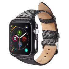 apple watch series 4 40mm case by insten carbon fiber genuine leather watch band w