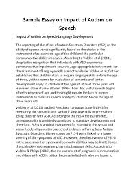 example of speech essay info example of speech essay sample essay on impact of autism on speech impact of autism on