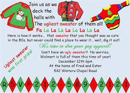 Ugly Sweater Christmas Party Invitations Wording Funny Christmas