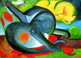 image is loading franz marc two cats blue and yellow 32x44