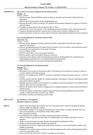 Sample Nuclear Medicine Technologist Resume Nuclear Medicine Technologist Resume Samples Velvet Jobs 1