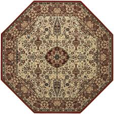 couristan everest ardebil ivory red 5 ft x 5 ft octagon