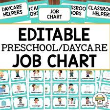 Pre K Job Chart Pictures Editable Preschool Daycare Job Chart