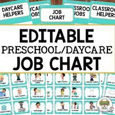 Editable Preschool Daycare Job Chart