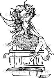 Library Fairy Digital Stamp Adult Coloring