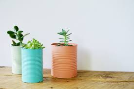colored tin can planters
