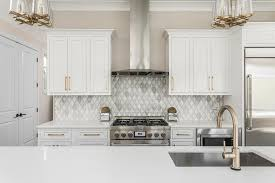 gray marble diamond pattern kitchen backsplash tiles