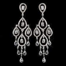 antique silver clear austrian cz crystal bead fl necklace 8171 chandelier earrings 8627 bridal jewelry set