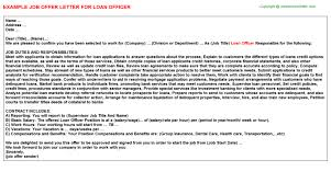 sample letter to loan officer loan officer job offer letter