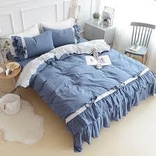 korean cotton princess blue green pink white kakhi bedding set ruffle duvetcover pillowcase bedsheet double bed bedding kit duvet sets black and white