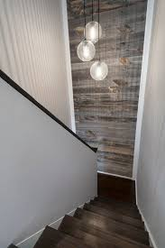 Cool sonneman lighting in Staircase Modern with Reclaimed Wood Accent Wall  next to Reclaimed Wood Walls alongside Stikwood and Wood Accent Wall Credit  to ...