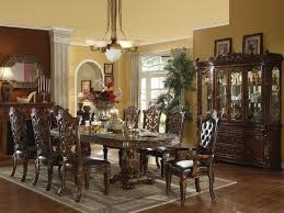 brown varnished wooden dining table long oval dining table each post formal dining room chairs dark brown