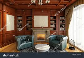classic home office. Classic Home Office Room With Fireplace 3d Rendering