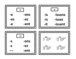French Verbs Conjugation Chart In Present Tense