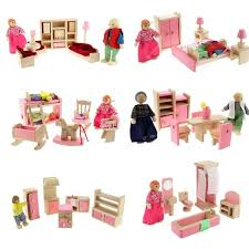 kids dollhouse furniture. Dollhouse Furniture Double Bed With Pillows And Blanket Wooden Doll Bathroom Miniature Kids Child