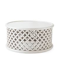 bamileke round white basketweave coffee