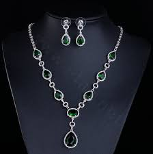 name top quality banquet wedding jewelry sets water drop green diamond earrings bridal zircon necklace