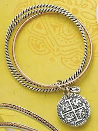 bronze silver twist bangle bracelet