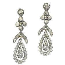victorian diamond dangle chandelier earrings 18kt rose gold