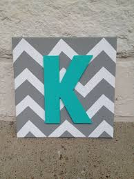 letter wall art square chevron canvas with painted letter
