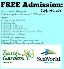 free admission for first responders sea world busch gardens