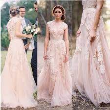 2015 vintage wedding dresses lace cap sleeve v neck a line