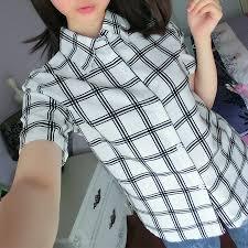 トレンドファッションチェック柄半袖シャツ2016春夏新作