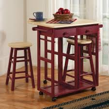 Country Style Kitchen Mobile Work Space Drop Leaf Kitchen Cart