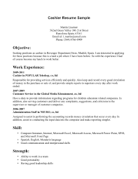 cashier objective resume examples shopgrat cover letter sample resume for cashier at retail store skill and strength cashier