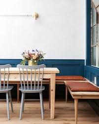 blue half wall and benches banquette style seating find this pin and more on dining rooms