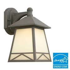 bronze outdoor led wall lantern with frosted tea stain glass