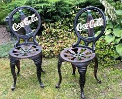 cast iron chair coca cola two cast iron chairs cast iron furniture for