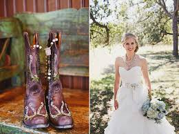wearing cowboy boots on your wedding day! Boots To Wedding dark brown cowboy boots on wood bench (left photo); bride in white a boots to a wedding